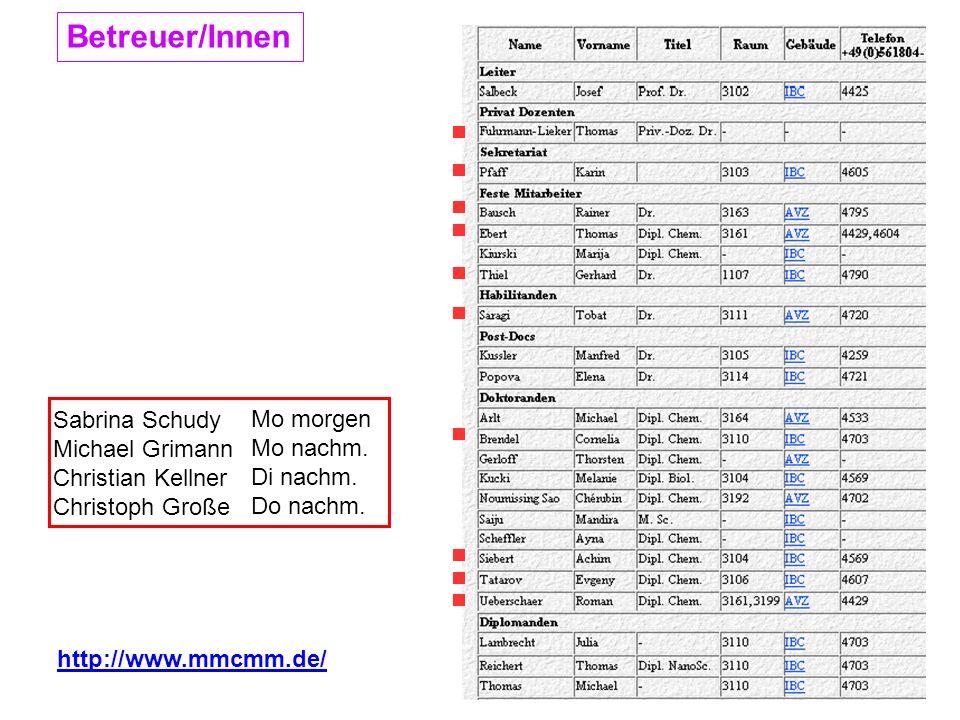 Betreuer/Innen http://www.mmcmm.de/ Sabrina Schudy Michael Grimann Christian Kellner Christoph Große Mo morgen Mo nachm. Di nachm. Do nachm.