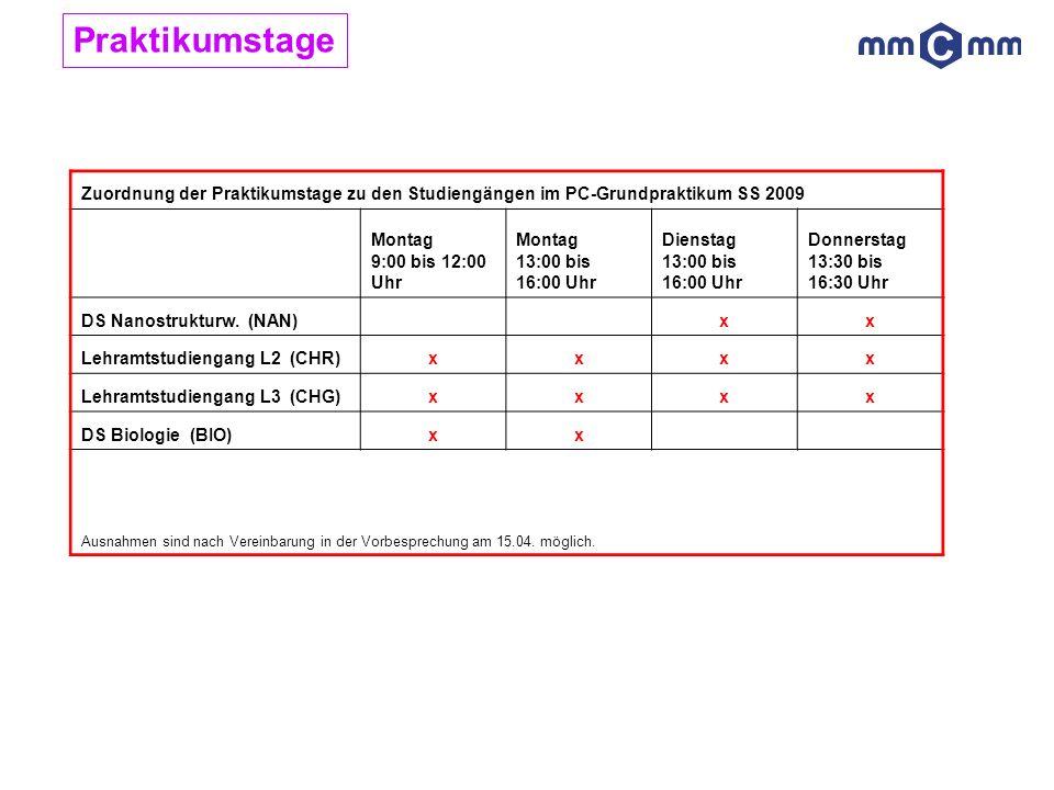 Zuordnung der Praktikumstage zu den Studiengängen im PC-Grundpraktikum SS 2009 Montag 9:00 bis 12:00 Uhr Montag 13:00 bis 16:00 Uhr Dienstag 13:00 bis