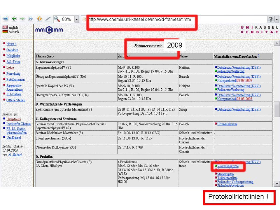 2009 Protokollrichtlinien !