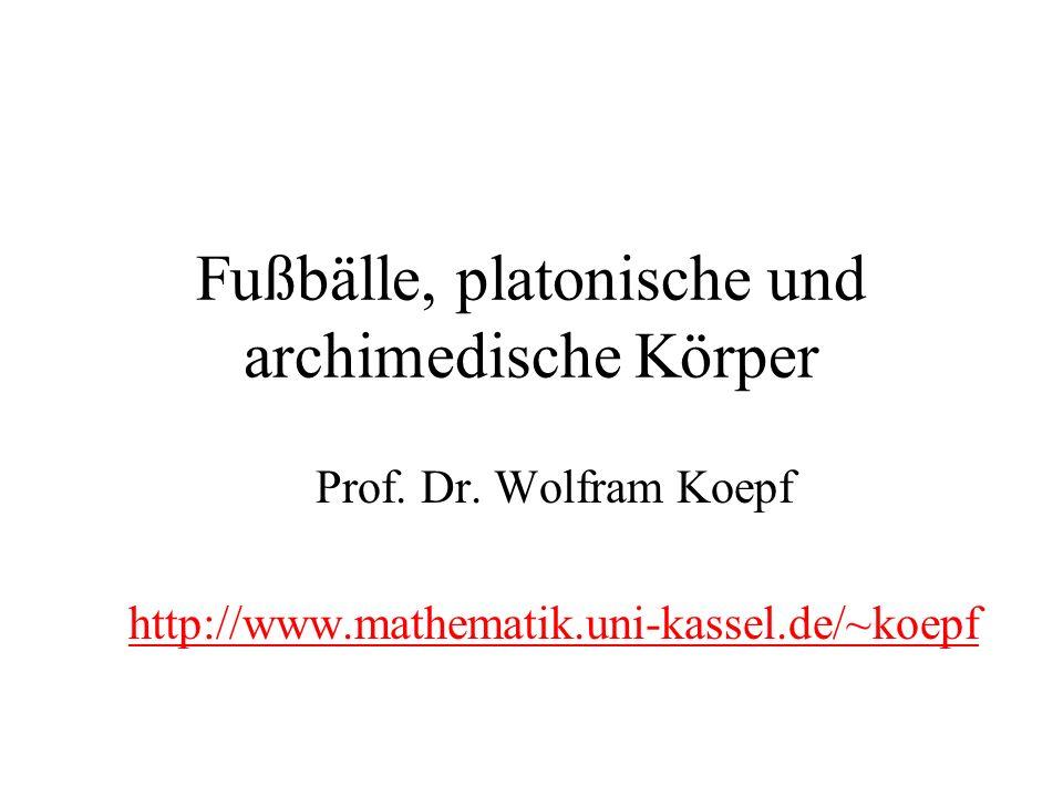 Fußbälle, platonische und archimedische Körper Prof. Dr. Wolfram Koepf http://www.mathematik.uni-kassel.de/~koepf