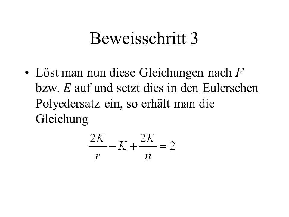 Beweisschritt 3 Löst man nun diese Gleichungen nach F bzw. E auf und setzt dies in den Eulerschen Polyedersatz ein, so erhält man die Gleichung