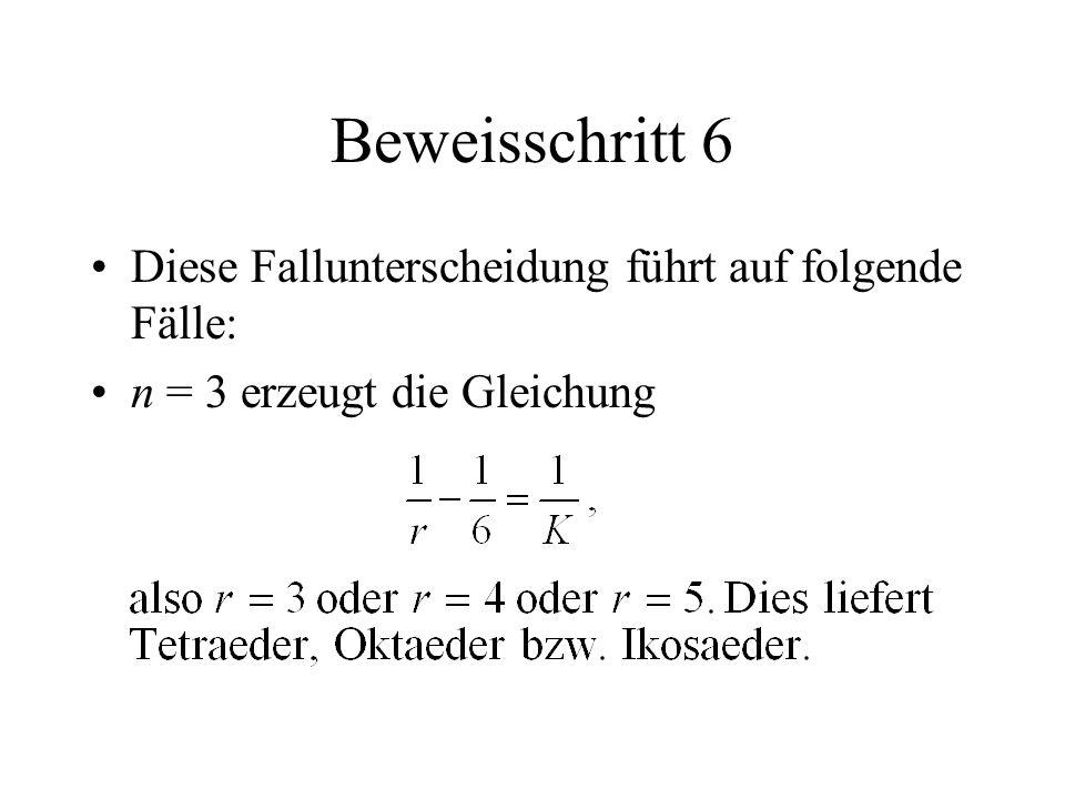 Beweisschritt 6 Diese Fallunterscheidung führt auf folgende Fälle: n = 3 erzeugt die Gleichung