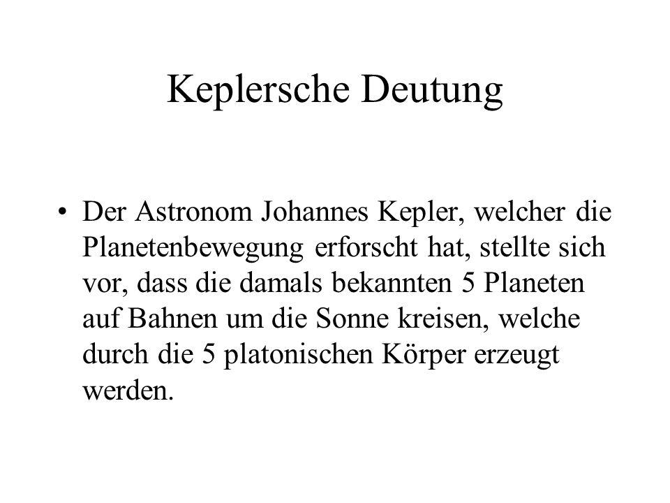Keplersche Deutung Der Astronom Johannes Kepler, welcher die Planetenbewegung erforscht hat, stellte sich vor, dass die damals bekannten 5 Planeten au