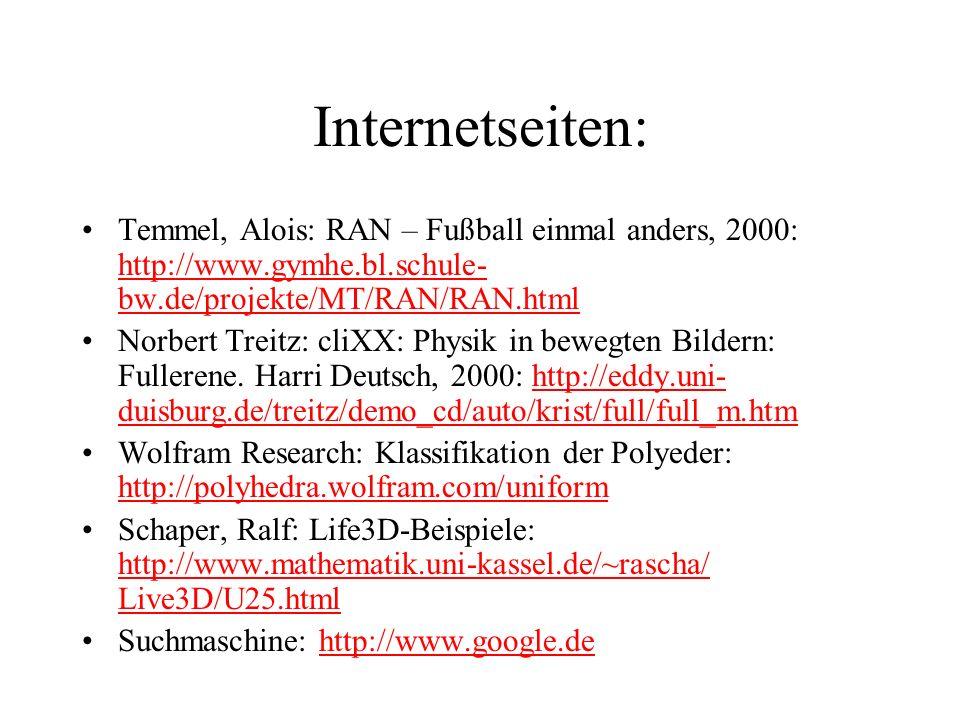 Internetseiten: Temmel, Alois: RAN – Fußball einmal anders, 2000: http://www.gymhe.bl.schule- bw.de/projekte/MT/RAN/RAN.html http://www.gymhe.bl.schul