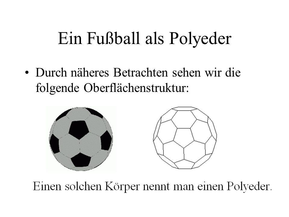 Ein Fußball als Polyeder Durch näheres Betrachten sehen wir die folgende Oberflächenstruktur: