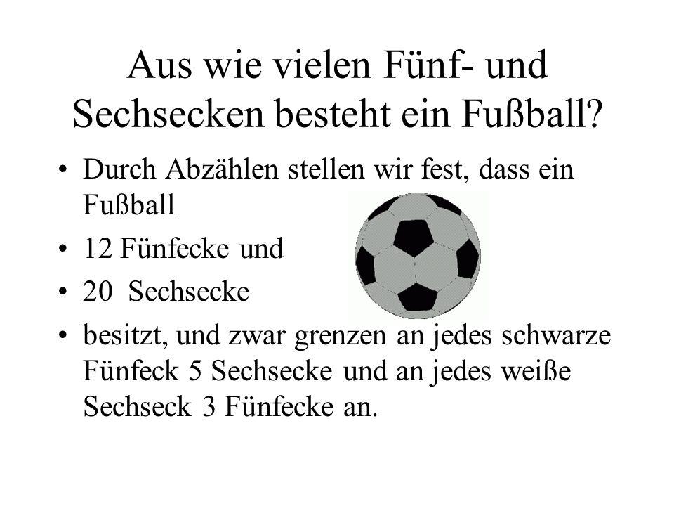 Aus wie vielen Fünf- und Sechsecken besteht ein Fußball? Durch Abzählen stellen wir fest, dass ein Fußball 12 Fünfecke und 20 Sechsecke besitzt, und z
