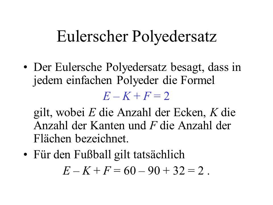 Eulerscher Polyedersatz Der Eulersche Polyedersatz besagt, dass in jedem einfachen Polyeder die Formel E – K + F = 2 gilt, wobei E die Anzahl der Ecke