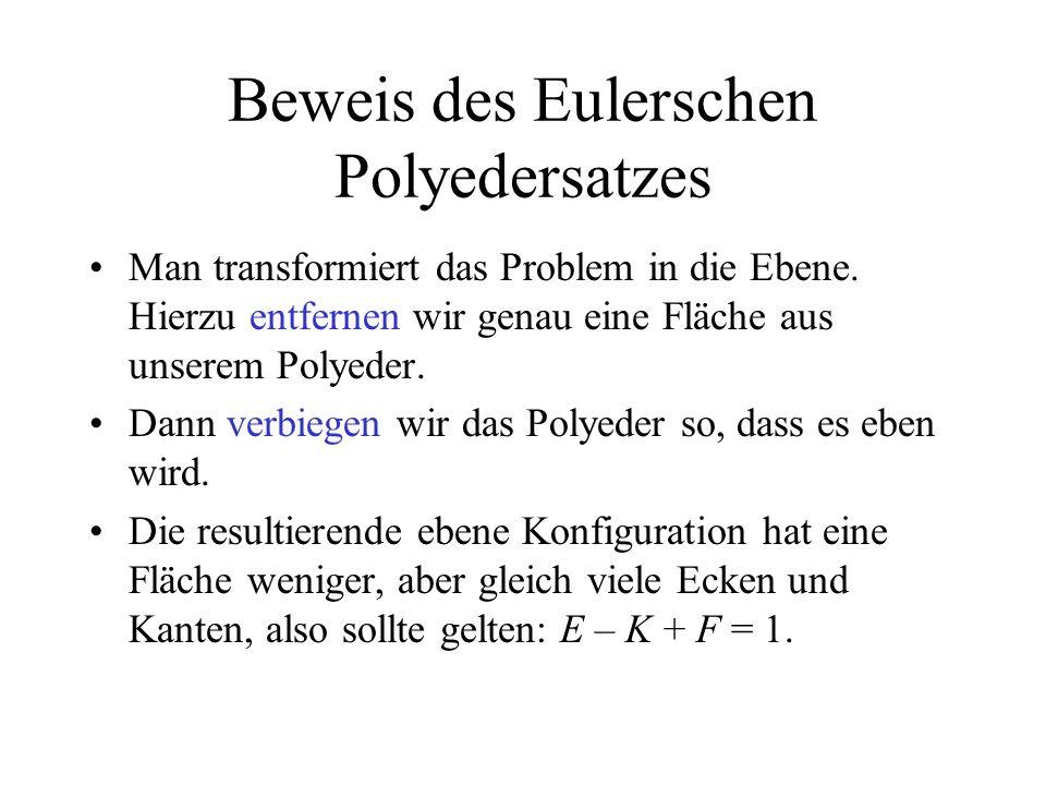 Beweis des Eulerschen Polyedersatzes Man transformiert das Problem in die Ebene. Hierzu entfernen wir genau eine Fläche aus unserem Polyeder. Dann ver