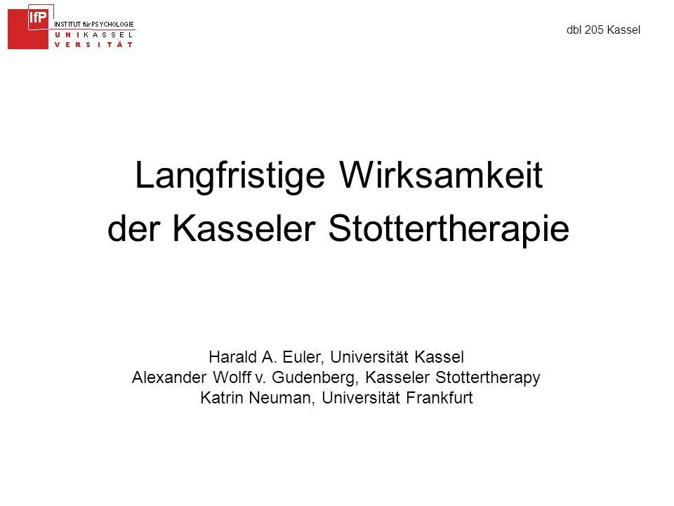 dbl 205 Kassel Langfristige Wirksamkeit der Kasseler Stottertherapie Harald A.