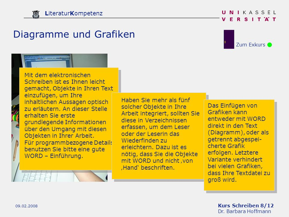 Kurs Schreiben 8/12 Dr. Barbara Hoffmann LiteraturKompetenz 09.02.2008 Zum Exkurs Diagramme und Grafiken Mit dem elektronischen Schreiben ist es Ihnen