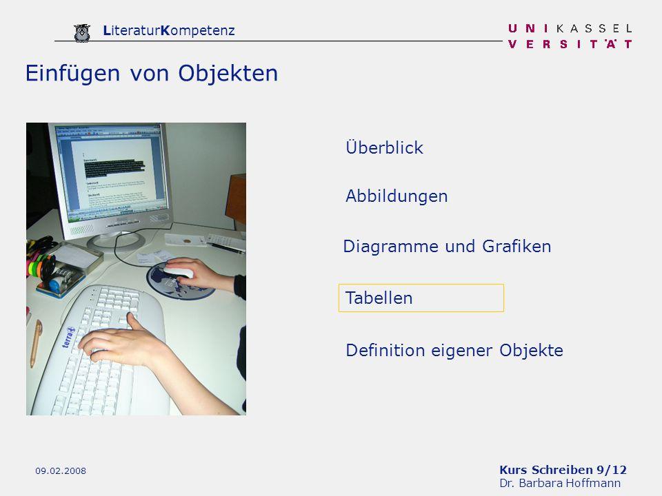 Kurs Schreiben 9/12 Dr. Barbara Hoffmann LiteraturKompetenz 09.02.2008 Tabellen Definition eigener Objekte Abbildungen Einfügen von Objekten Diagramme