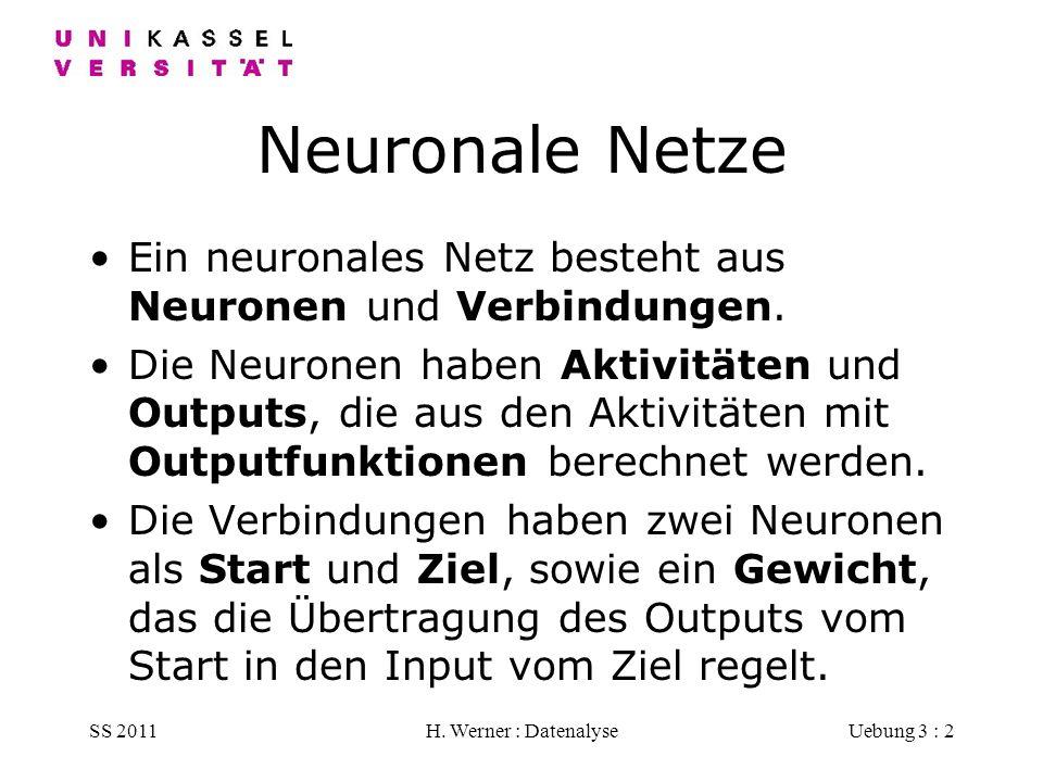 SS 2011H. Werner : DatenalyseUebung 3 : 2 Neuronale Netze Ein neuronales Netz besteht aus Neuronen und Verbindungen. Die Neuronen haben Aktivitäten un