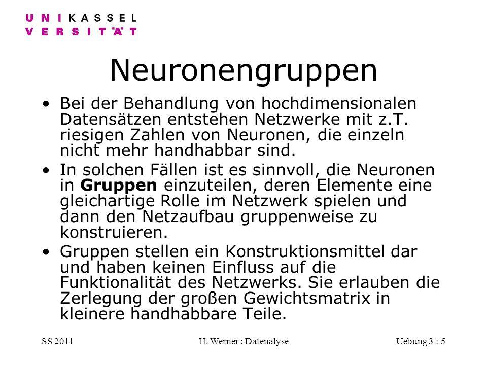 SS 2011H. Werner : DatenalyseUebung 3 : 5 Neuronengruppen Bei der Behandlung von hochdimensionalen Datensätzen entstehen Netzwerke mit z.T. riesigen Z