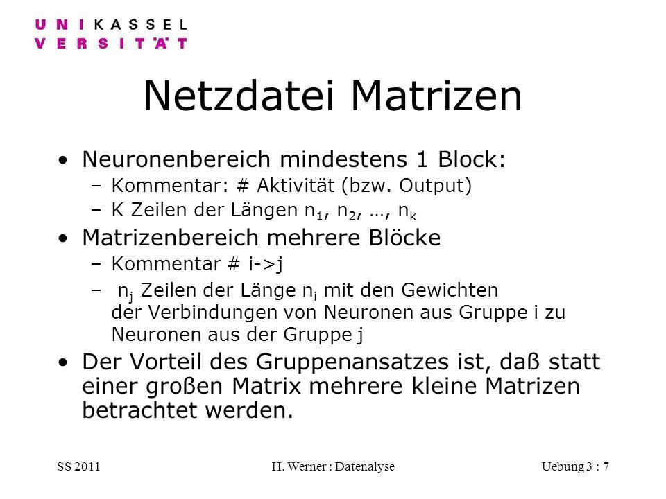 SS 2011H. Werner : DatenalyseUebung 3 : 7 Netzdatei Matrizen Neuronenbereich mindestens 1 Block: –Kommentar: # Aktivität (bzw. Output) –K Zeilen der L