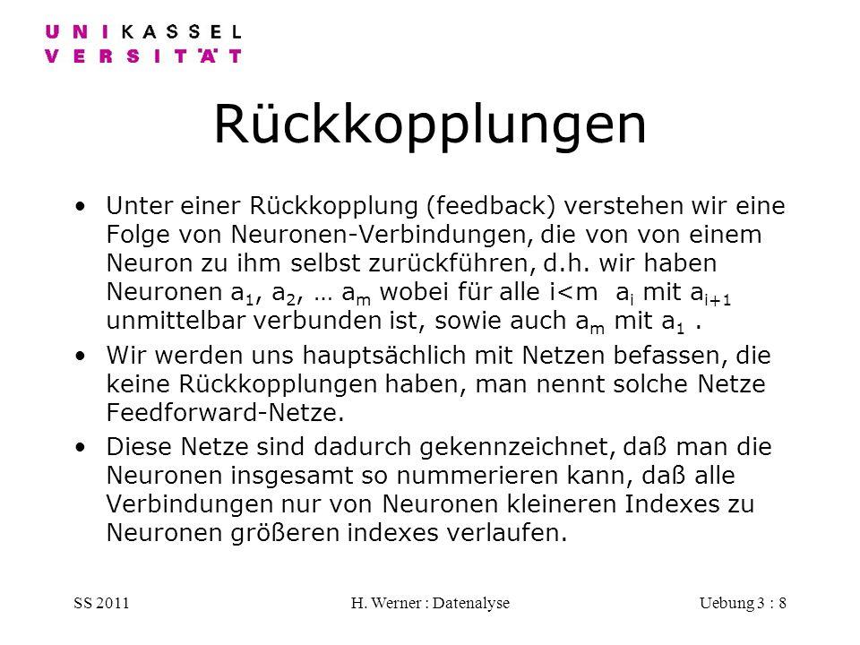 SS 2011H. Werner : DatenalyseUebung 3 : 8 Rückkopplungen Unter einer Rückkopplung (feedback) verstehen wir eine Folge von Neuronen-Verbindungen, die v
