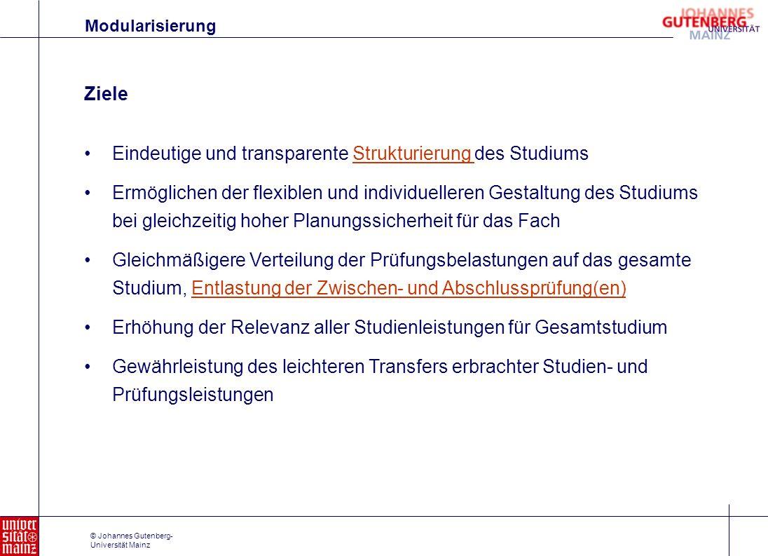 © Johannes Gutenberg- Universität Mainz Eindeutige und transparente Strukturierung des StudiumsStrukturierung Ermöglichen der flexiblen und individuel