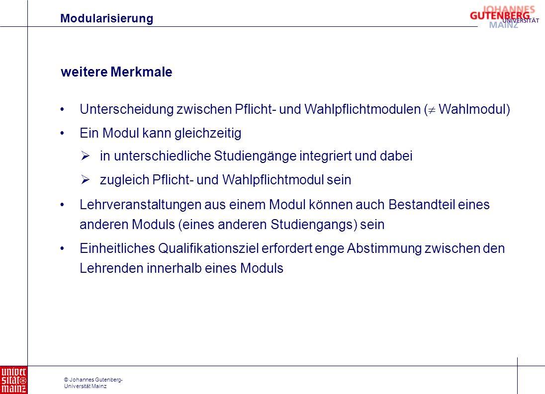 © Johannes Gutenberg- Universität Mainz weitere Merkmale Unterscheidung zwischen Pflicht- und Wahlpflichtmodulen ( Wahlmodul) Ein Modul kann gleichzei