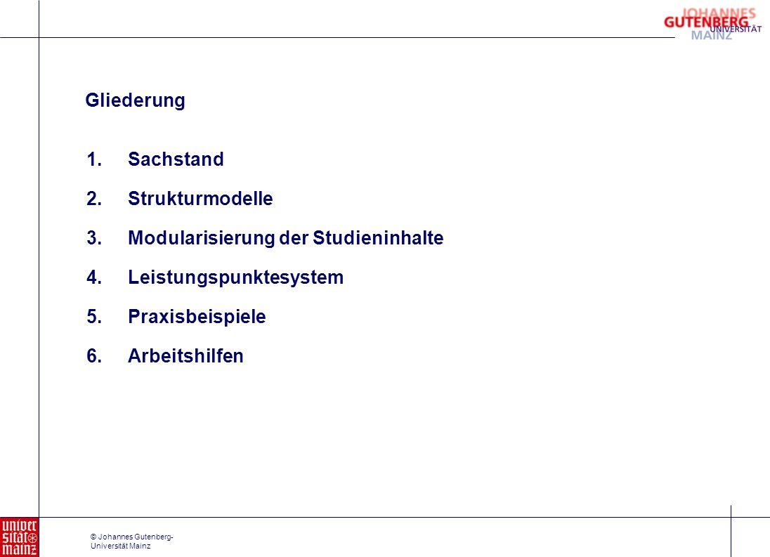 © Johannes Gutenberg- Universität Mainz 1.Sachstand 2.Strukturmodelle 3.Modularisierung der Studieninhalte 4.Leistungspunktesystem 5.Praxisbeispiele 6