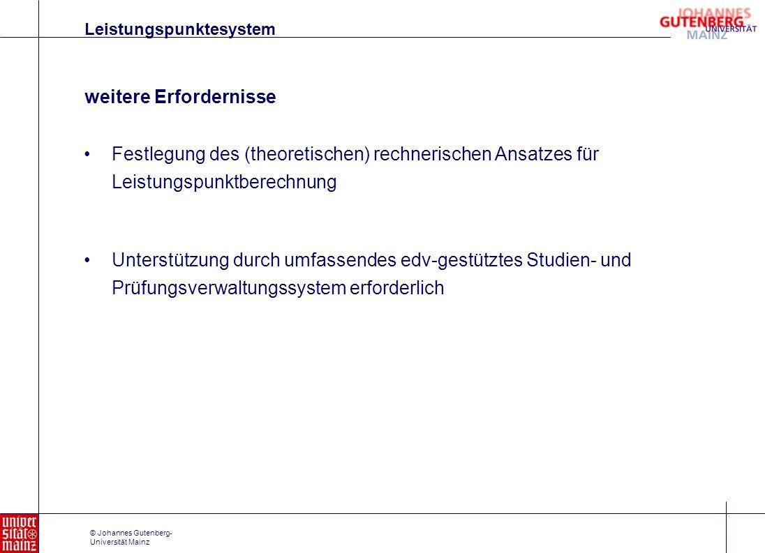 © Johannes Gutenberg- Universität Mainz Festlegung des (theoretischen) rechnerischen Ansatzes für Leistungspunktberechnung Unterstützung durch umfasse