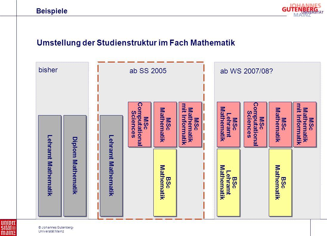 © Johannes Gutenberg- Universität Mainz Beispiele Umstellung der Studienstruktur im Fach Mathematik Lehramt Mathematik Diplom Mathematik bisher Lehram