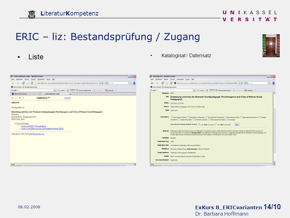 ExKurs B_ERICvarianten 14/10 Dr.
