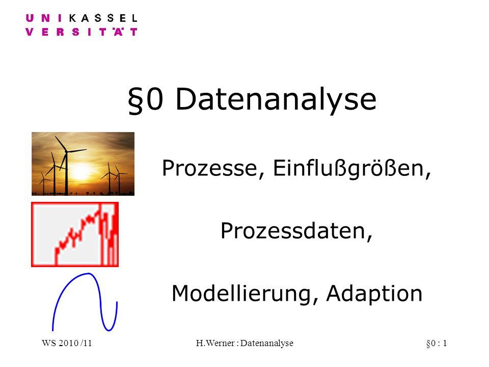 WS 2010 /11H.Werner : Datenanalyse§0 : 1 §0 Datenanalyse Prozesse, Einflußgrößen, Prozessdaten, Modellierung, Adaption