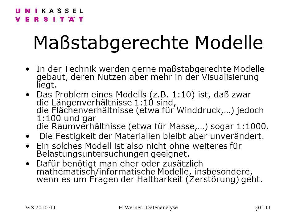 WS 2010 /11H.Werner : Datenanalyse§0 : 11 Maßstabgerechte Modelle In der Technik werden gerne maßstabgerechte Modelle gebaut, deren Nutzen aber mehr in der Visualisierung liegt.