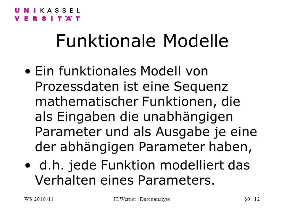 WS 2010 /11H.Werner : Datenanalyse§0 : 12 Funktionale Modelle Ein funktionales Modell von Prozessdaten ist eine Sequenz mathematischer Funktionen, die als Eingaben die unabhängigen Parameter und als Ausgabe je eine der abhängigen Parameter haben, d.h.