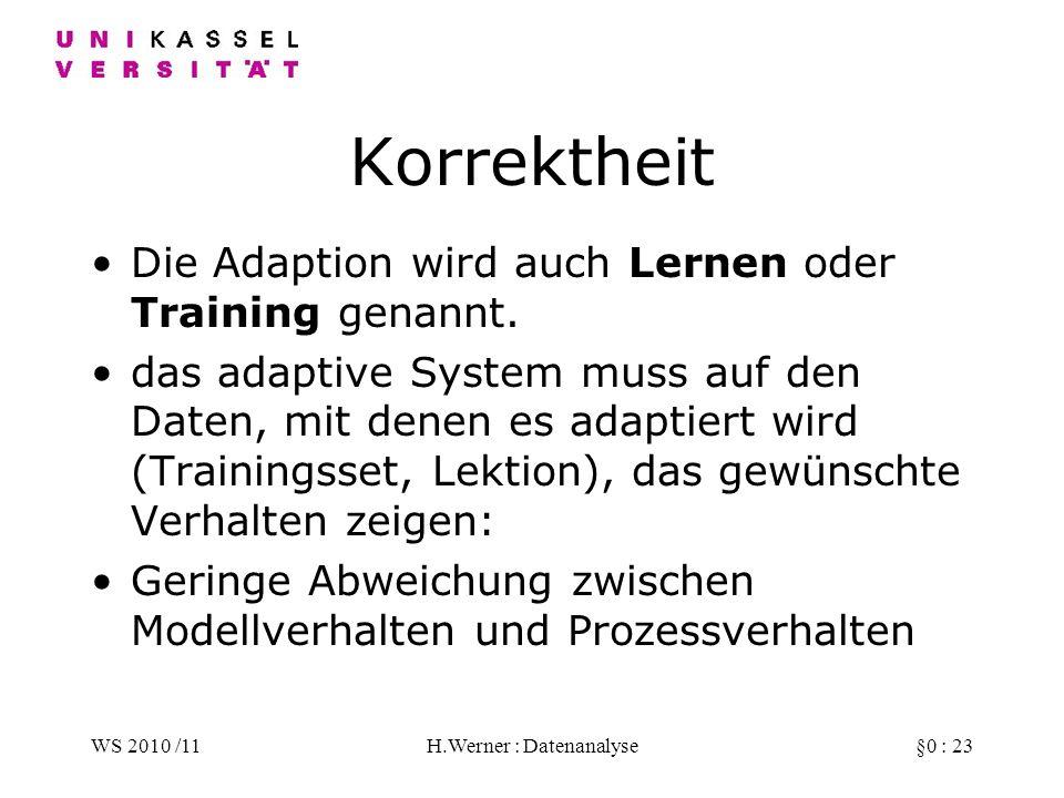 WS 2010 /11H.Werner : Datenanalyse§0 : 23 Korrektheit Die Adaption wird auch Lernen oder Training genannt.