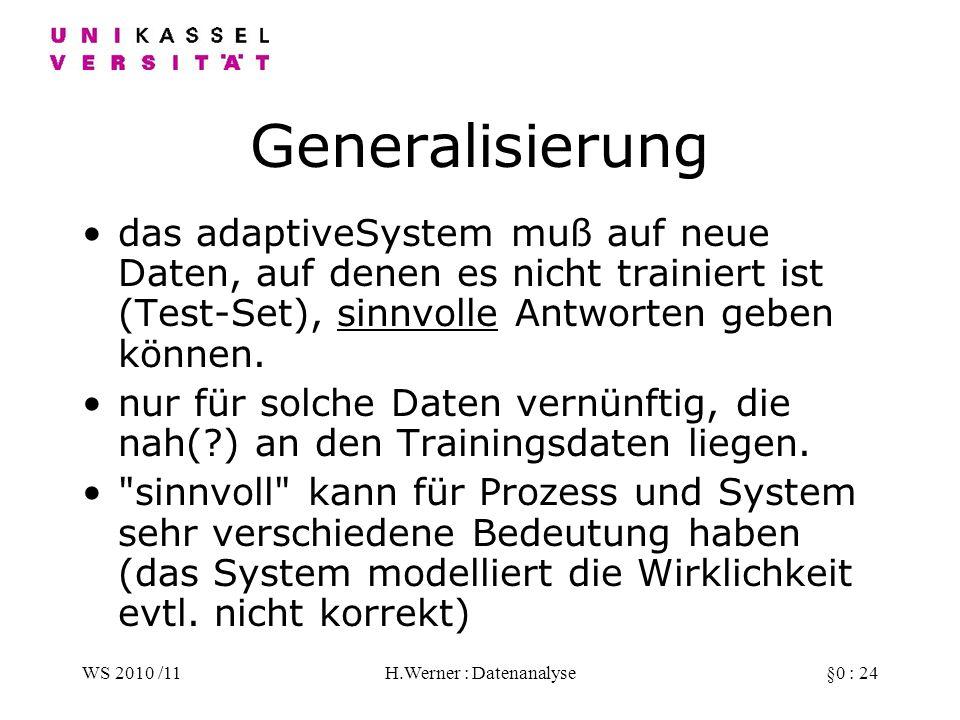 WS 2010 /11H.Werner : Datenanalyse§0 : 24 Generalisierung das adaptiveSystem muß auf neue Daten, auf denen es nicht trainiert ist (Test-Set), sinnvolle Antworten geben können.