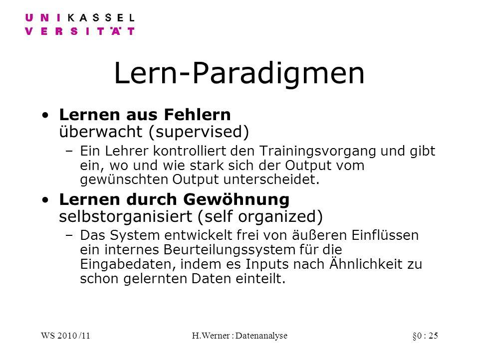 WS 2010 /11H.Werner : Datenanalyse§0 : 25 Lern-Paradigmen Lernen aus Fehlern überwacht (supervised) –Ein Lehrer kontrolliert den Trainingsvorgang und gibt ein, wo und wie stark sich der Output vom gewünschten Output unterscheidet.