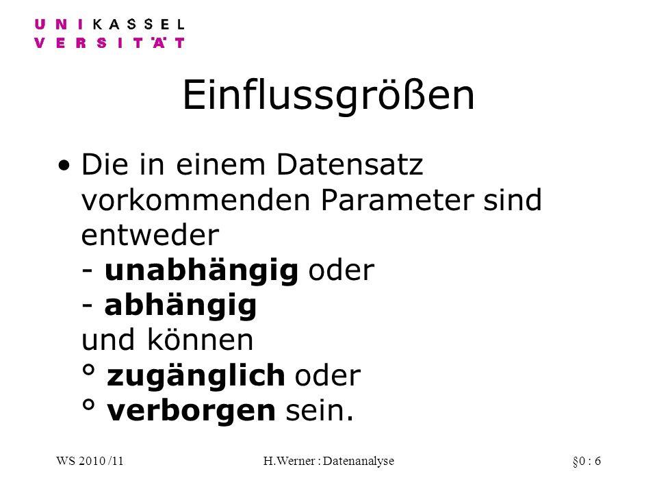 WS 2010 /11H.Werner : Datenanalyse§0 : 7 unabhängig / abhängig Unabhängig sind die Parameter, die von dem Prozessbetreiber direkt auf gewünschte Werte eingestellt werden können (Eingabe).