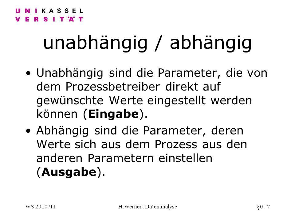WS 2010 /11H.Werner : Datenanalyse§0 : 8 zugänglich/verborgen Zugänglich sind alle Parameter, deren Werte direkt am Prozess gemessen werden können.