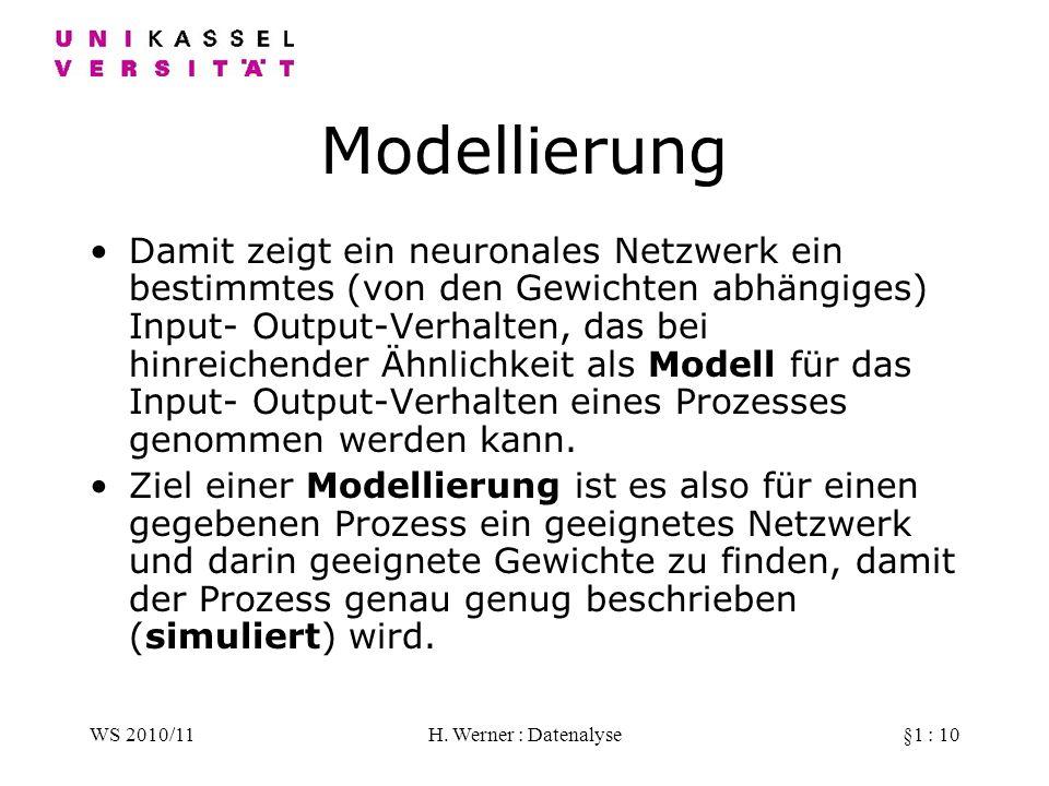 WS 2010/11H. Werner : Datenalyse§1 : 10 Modellierung Damit zeigt ein neuronales Netzwerk ein bestimmtes (von den Gewichten abhängiges) Input- Output-V