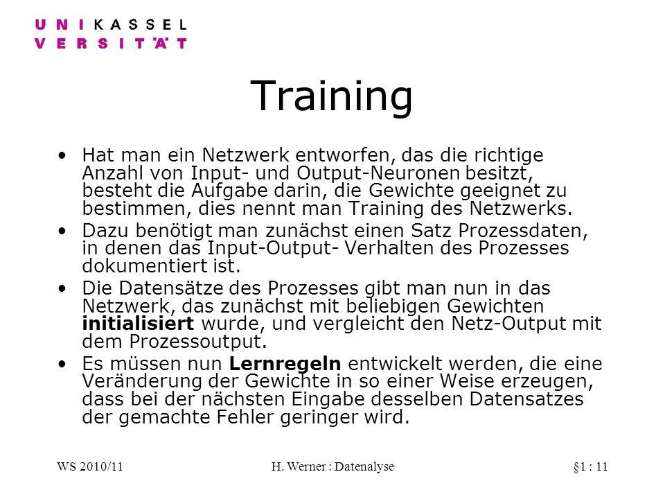 WS 2010/11H. Werner : Datenalyse§1 : 11 Training Hat man ein Netzwerk entworfen, das die richtige Anzahl von Input- und Output-Neuronen besitzt, beste