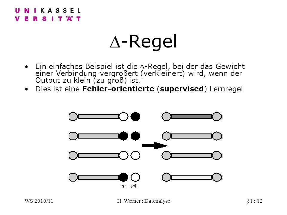 WS 2010/11H. Werner : Datenalyse§1 : 12 -Regel Ein einfaches Beispiel ist die -Regel, bei der das Gewicht einer Verbindung vergrößert (verkleinert) wi