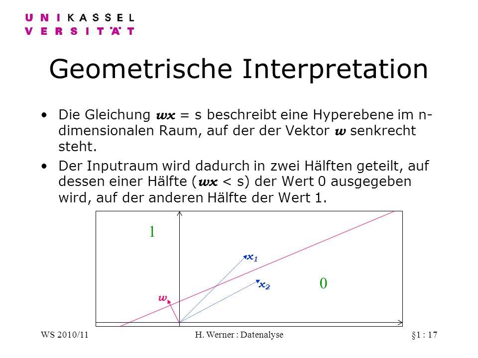 WS 2010/11H. Werner : Datenalyse§1 : 17 Geometrische Interpretation Die Gleichung wx = s beschreibt eine Hyperebene im n- dimensionalen Raum, auf der
