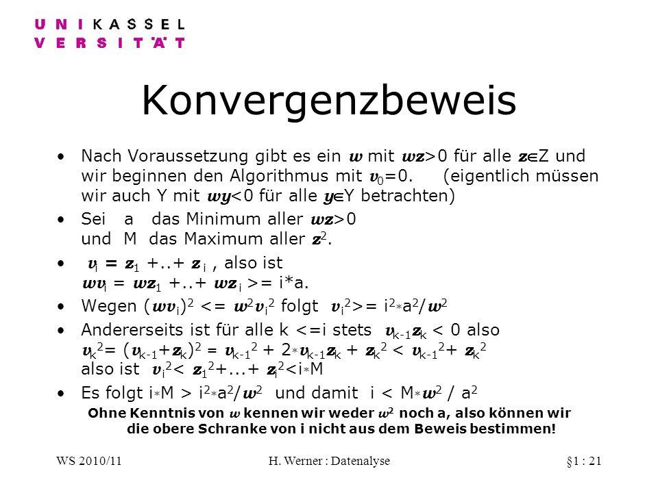 WS 2010/11H. Werner : Datenalyse§1 : 21 Konvergenzbeweis Nach Voraussetzung gibt es ein w mit wz >0 für alle zZ und wir beginnen den Algorithmus mit v