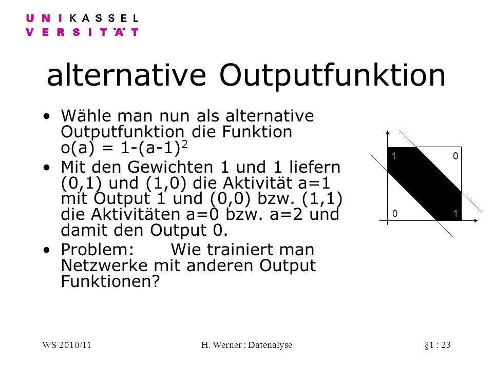 WS 2010/11H. Werner : Datenalyse§1 : 23 alternative Outputfunktion Wähle man nun als alternative Outputfunktion die Funktion o(a) = 1-(a-1) 2 Mit den