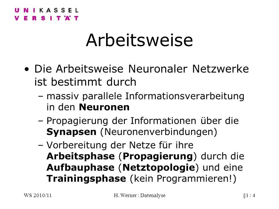 WS 2010/11H. Werner : Datenalyse§1 : 4 Arbeitsweise Die Arbeitsweise Neuronaler Netzwerke ist bestimmt durch –massiv parallele Informationsverarbeitun