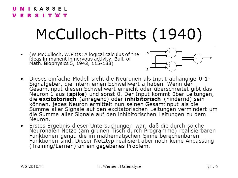 WS 2010/11H. Werner : Datenalyse§1 : 6 McCulloch-Pitts (1940) (W.McCulloch, W.Pitts: A logical calculus of the ideas immanent in nervous activity. Bul