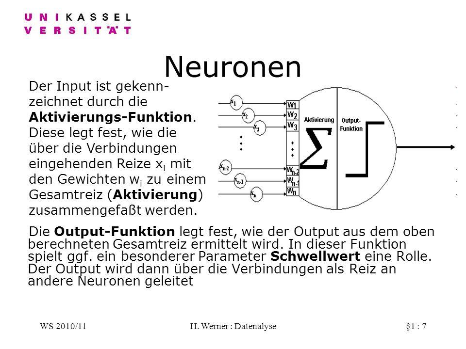 WS 2010/11H. Werner : Datenalyse§1 : 7 Neuronen Die Output-Funktion legt fest, wie der Output aus dem oben berechneten Gesamtreiz ermittelt wird. In d