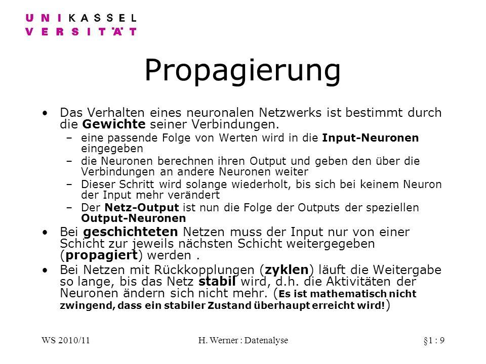 WS 2010/11H. Werner : Datenalyse§1 : 9 Propagierung Das Verhalten eines neuronalen Netzwerks ist bestimmt durch die Gewichte seiner Verbindungen. –ein