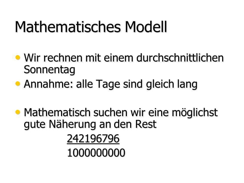 Mathematisches Modell Wir rechnen mit einem durchschnittlichen Sonnentag Wir rechnen mit einem durchschnittlichen Sonnentag Annahme: alle Tage sind gleich lang Annahme: alle Tage sind gleich lang Mathematisch suchen wir eine möglichst gute Näherung an den Rest Mathematisch suchen wir eine möglichst gute Näherung an den Rest 242196796 242196796 1000000000 1000000000