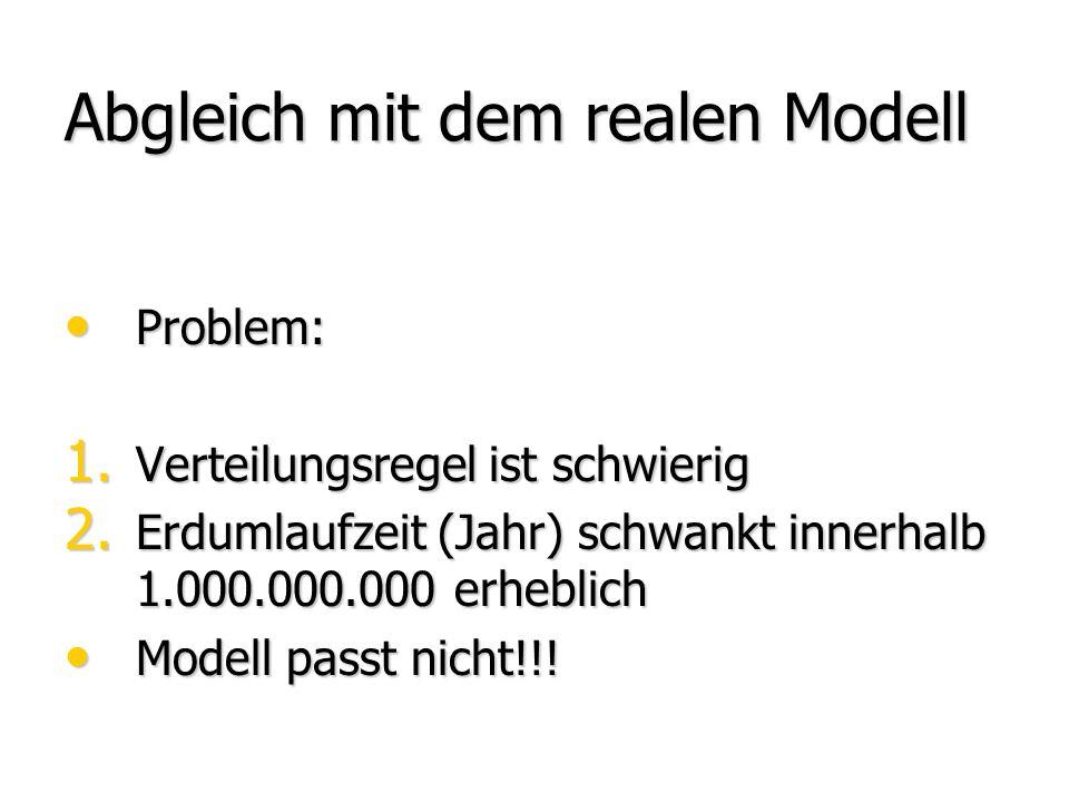 Abgleich mit dem realen Modell Problem: Problem: 1. Verteilungsregel ist schwierig 2. Erdumlaufzeit (Jahr) schwankt innerhalb 1.000.000.000 erheblich