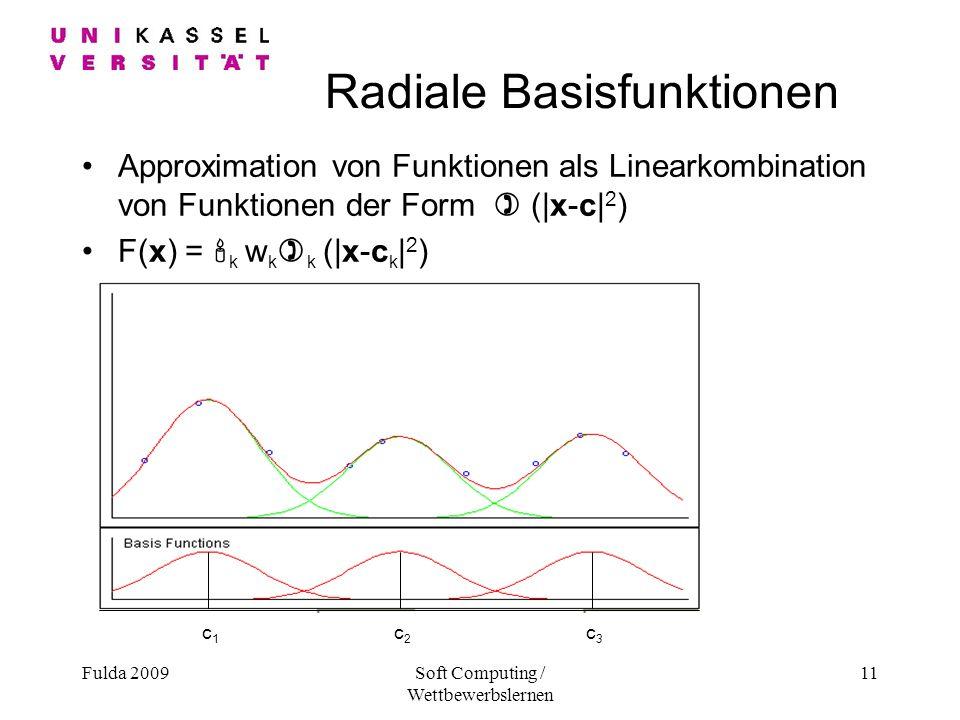 Fulda 2009Soft Computing / Wettbewerbslernen 11 c1c1 c2c2 c3c3 Radiale Basisfunktionen Approximation von Funktionen als Linearkombination von Funktionen der Form ) (|x-c| 2 ) F(x) = k w k ) k (|x-c k | 2 )