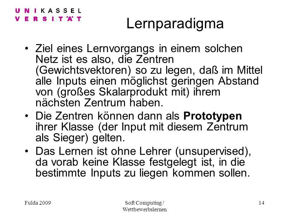Fulda 2009Soft Computing / Wettbewerbslernen 14 Lernparadigma Ziel eines Lernvorgangs in einem solchen Netz ist es also, die Zentren (Gewichtsvektoren) so zu legen, daß im Mittel alle Inputs einen möglichst geringen Abstand von (großes Skalarprodukt mit) ihrem nächsten Zentrum haben.