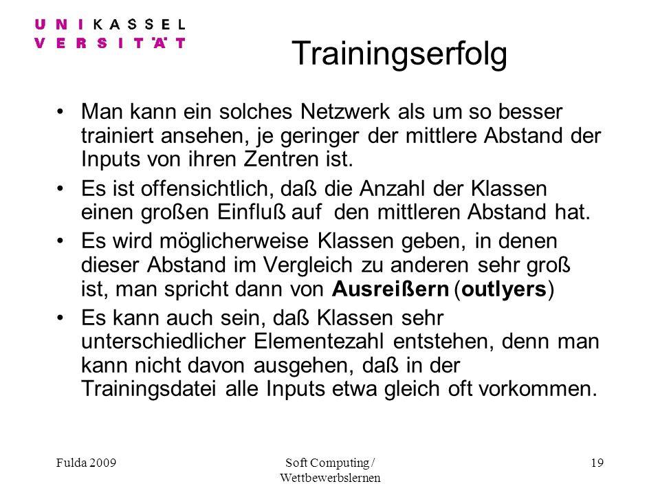 Fulda 2009Soft Computing / Wettbewerbslernen 19 Trainingserfolg Man kann ein solches Netzwerk als um so besser trainiert ansehen, je geringer der mittlere Abstand der Inputs von ihren Zentren ist.