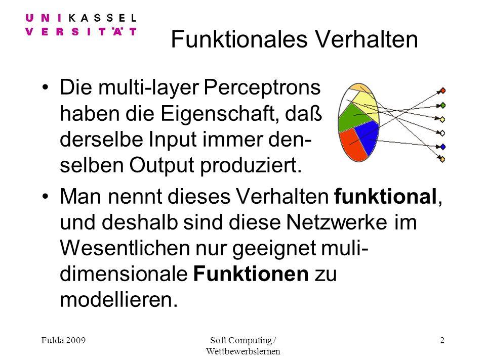 Fulda 2009Soft Computing / Wettbewerbslernen 2 Funktionales Verhalten Die multi-layer Perceptrons haben die Eigenschaft, daß derselbe Input immer den- selben Output produziert.