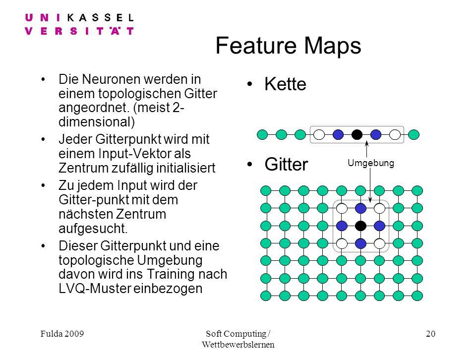Fulda 2009Soft Computing / Wettbewerbslernen 20 Feature Maps Die Neuronen werden in einem topologischen Gitter angeordnet.